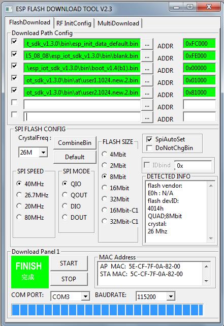 ESP 8266 Firmware update bin file order ?